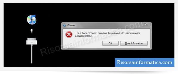 Errore 1013 iTunes @ Risorsainformatica.com