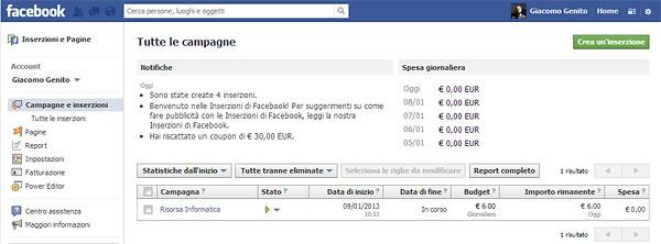 Facebook Campagna Pubblicitaria