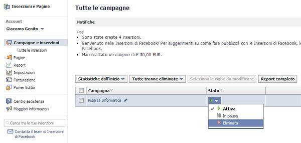 Eliminare campagna facebook